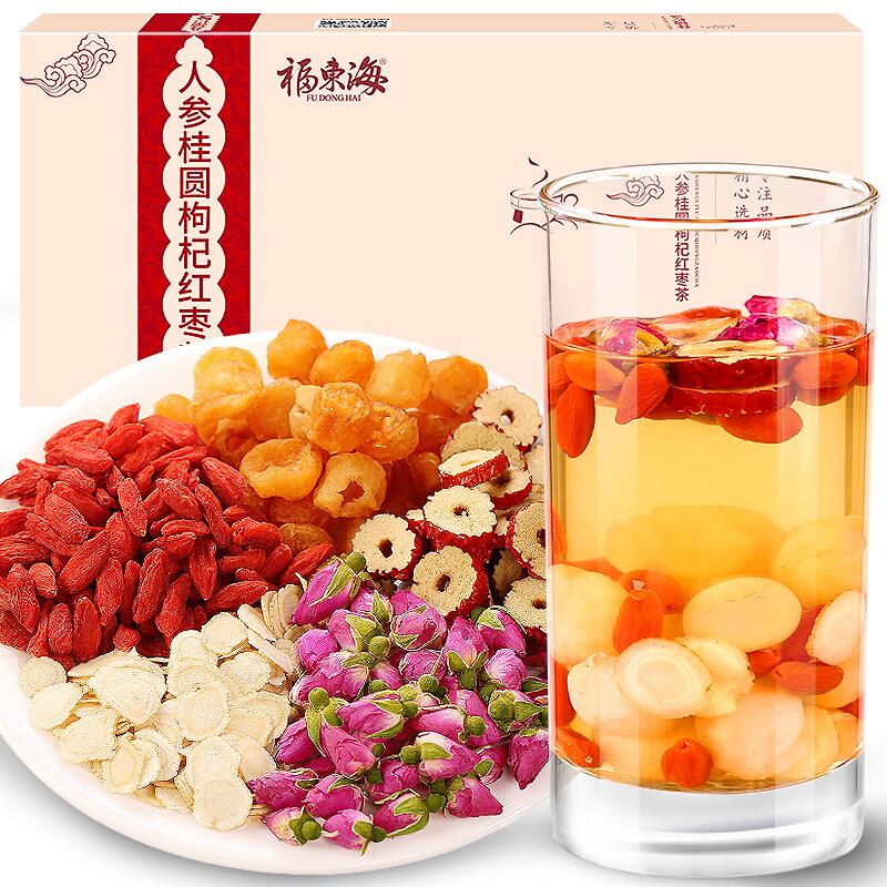 福东海 人参桂圆枸杞红枣茶 补生茶 200克盒装