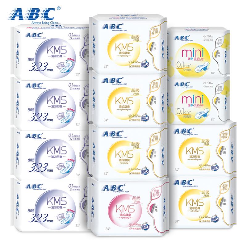 ABC蓝芯棉柔清爽透气日夜用卫生巾12包 共76片