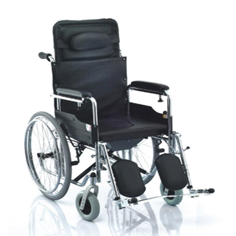 鱼跃手动轮椅车电镀高靠背软座H009B