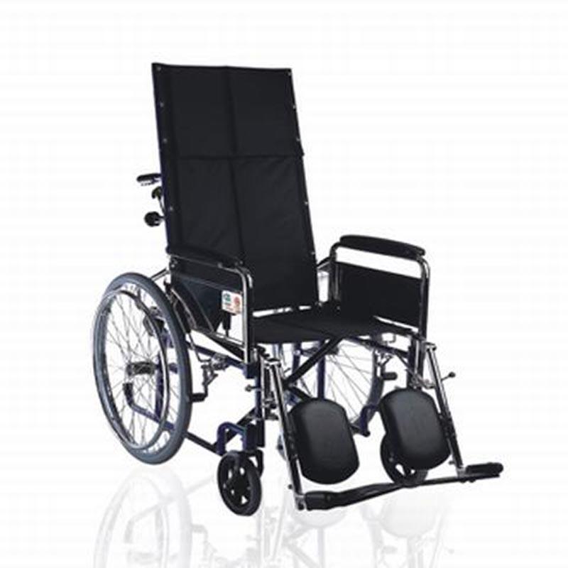 鱼跃手动轮椅车喷塑高靠背软座H008