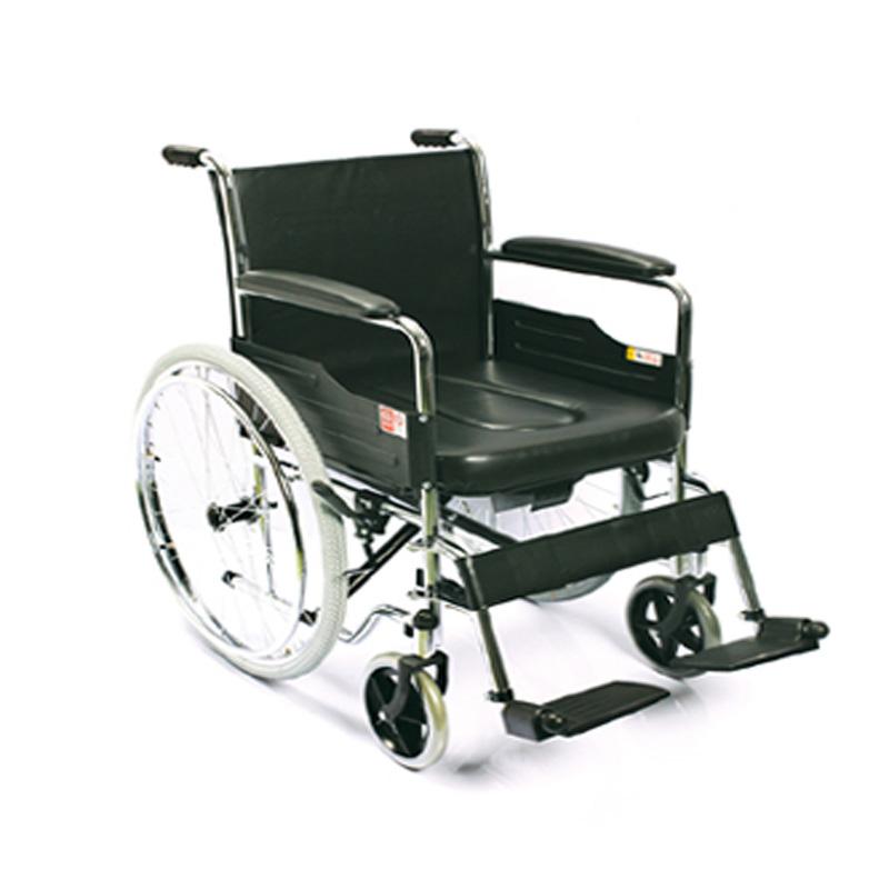 鱼跃手动轮椅车电镀硬座带座便H005B