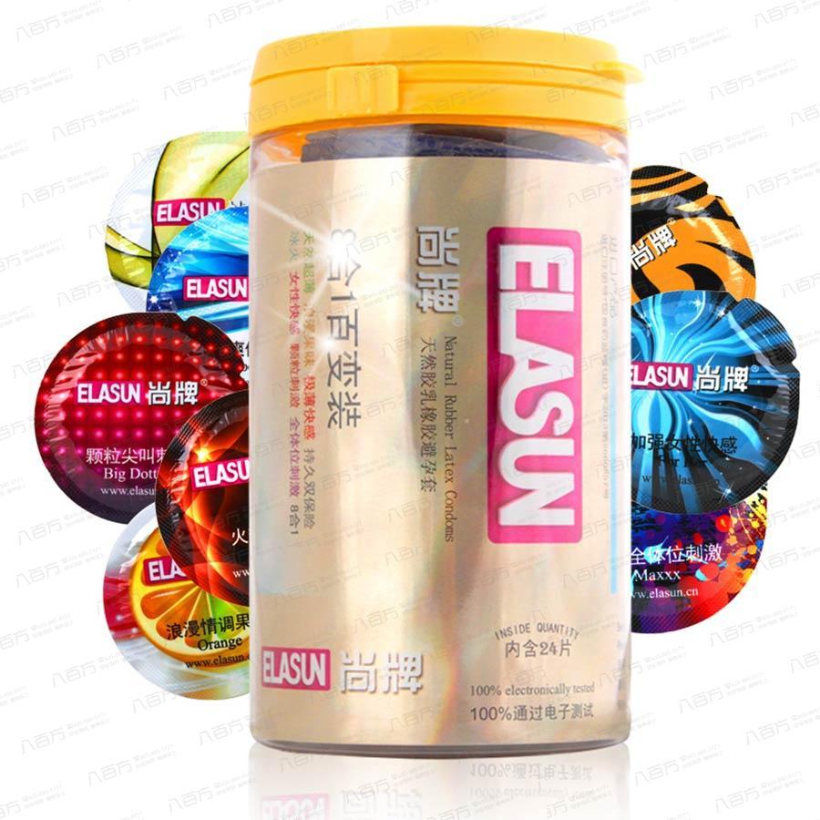 【避孕套】elasun尚牌 8合1罐裝24只裝