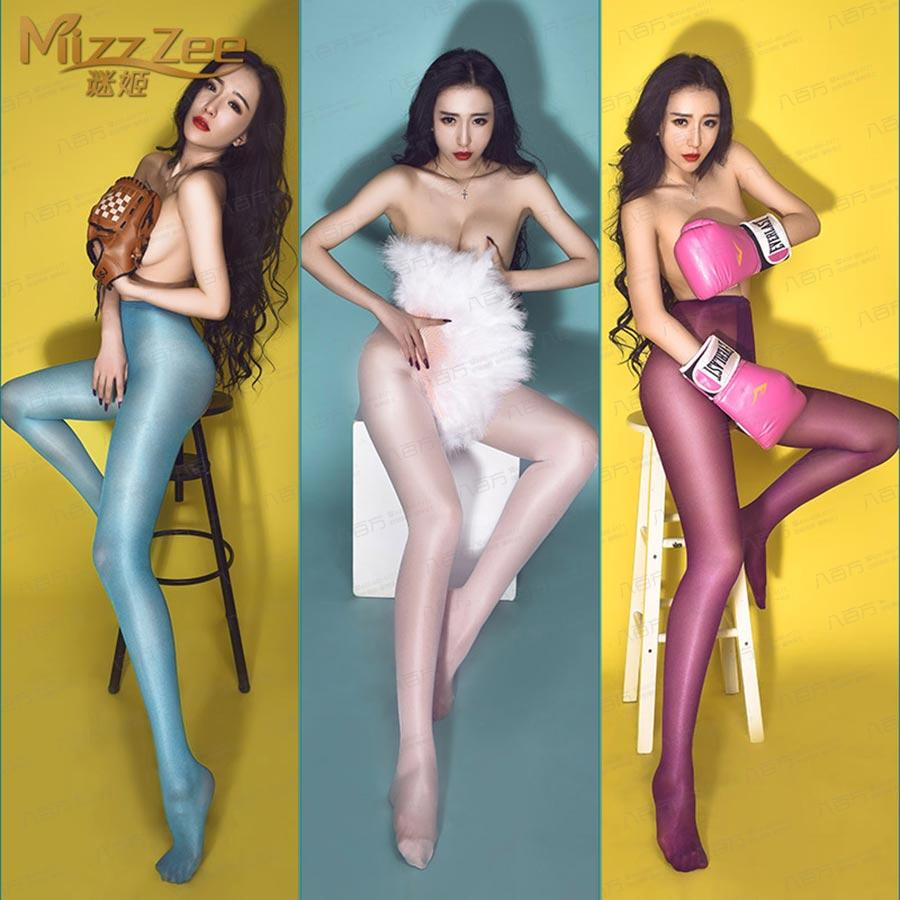 Mizz zeeT裆无痕油亮闪光丝袜开裆连裤袜8330