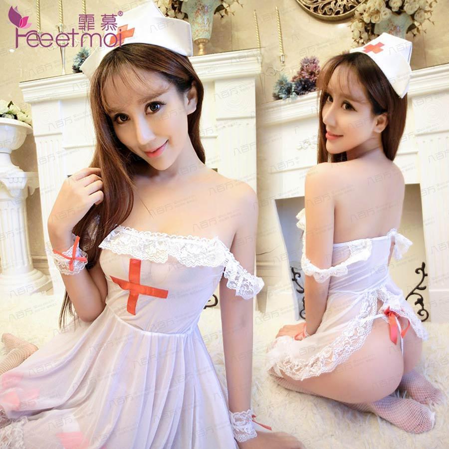 霏慕白色纯情多件套护士服8906