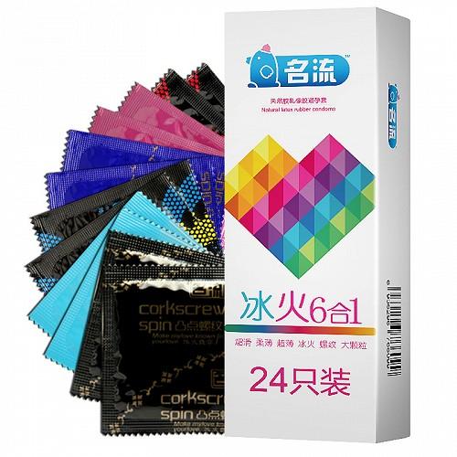名流 天然胶乳橡胶避孕套(冰火6合1套装) 24只