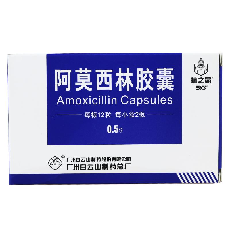 【白云山】阿莫西林胶囊—0.5g*24粒/盒—广州白云山制药总厂