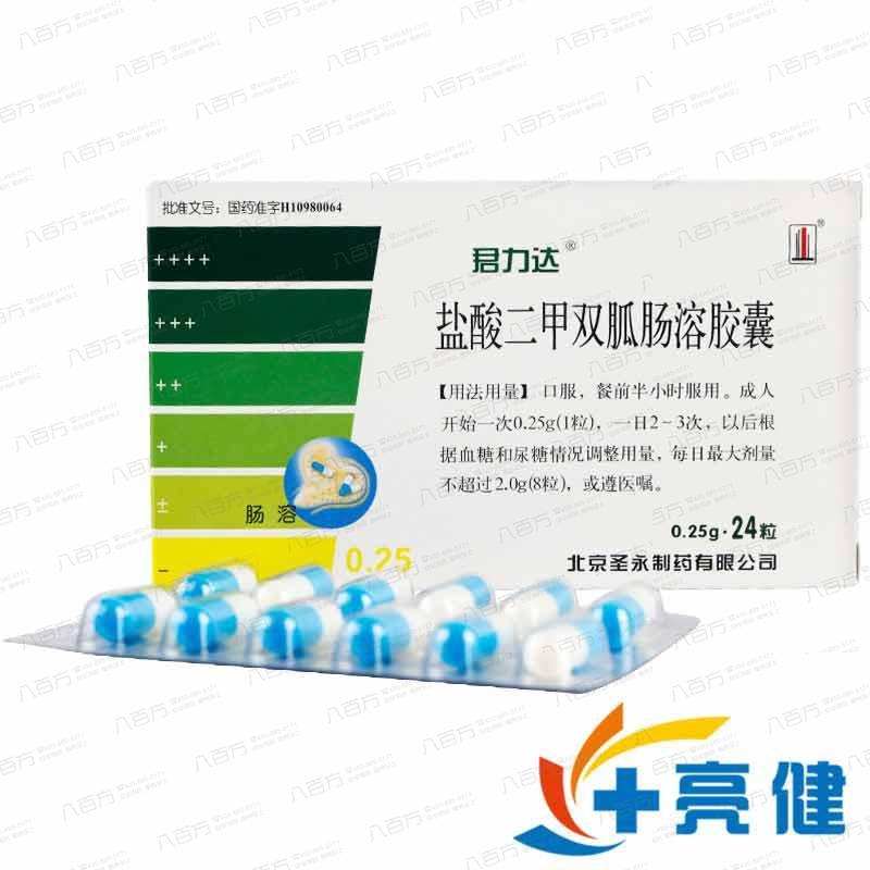 君力达 盐酸二甲双胍肠溶胶囊 0.25g*24粒/盒北京圣永制药有限公司
